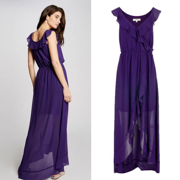 Vestido de invitada con volantes color violeta