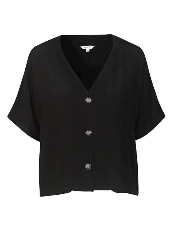Blusa negra botones manga corta mbyM
