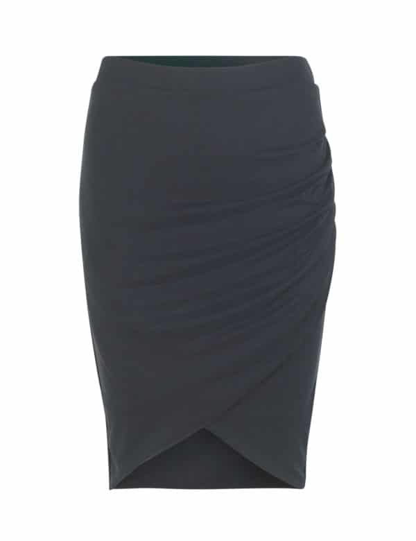 Falda tubo negra drapeada mbyM